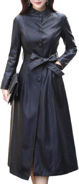 ZXFHZSCA Women Casual FauxLeather Maxi Long Slim Fit Trench Coat with Belt