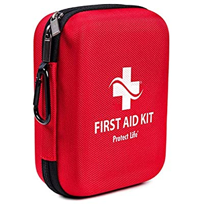 First Aid Kit - 150 Piece - First Aid Kits for Car, Workplace, Home, Travel, Sports, Camping or Office | Red Case Packed with Safety & Emergency Supplies, including Emergency Blanket and CPR Face Mask from Protect Life