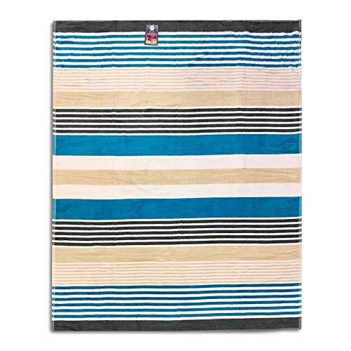 Telo Mare Matrimoniale Side Wowen Stripe Azzurro 100% Spugna Di Cotone 140X175 Cm Spiaggia Due Posti