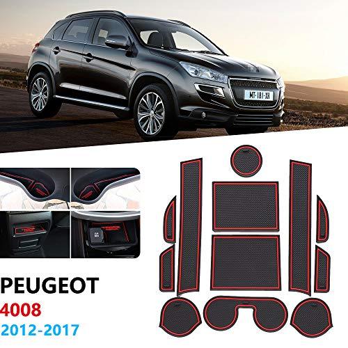 YXSMQC Anti Slip Rubber Poort Slot Cup Mat Deur Groove Mat Coaster Accessoires Stickers, Voor Peugeot 4008 2012-2017