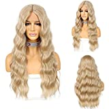 Ash Blonde Synthetic Lace Front Wigs with 5 Inches Middle Deep Parting 26 Inches Long Wavy Synthetic Wig for Women T Part Body Wave Glueless Lace Wigs Heat Resistant 130% Density