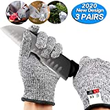 3 Pairs Cut Resistant Gloves - Upgrade Cut Resistant,Cut Resistant Work Gloves, for Meat Cuttin Processing,...