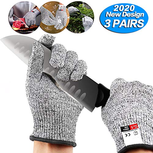 3 pairs Cut Resistant Gloves - Upgrade Cut Resistant,Food Grade Level 5 Protectio,Cut Resistant Work Gloves, For Meat Cuttin Processing, Mandolin Slicing,Wood Carving,Pruning nd More,(Medium-3 pairs)