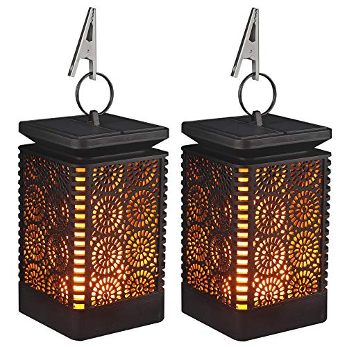 2 x Solar LED Tragbare Flame lamp Flamme Batterie Dynamische wasserdicht intelligente Gartenbeleuchtung Solarlampen Hängeschirm Laterne Gartenlaternen Dekorativ für Freien Landschaft Gehweg Rasen