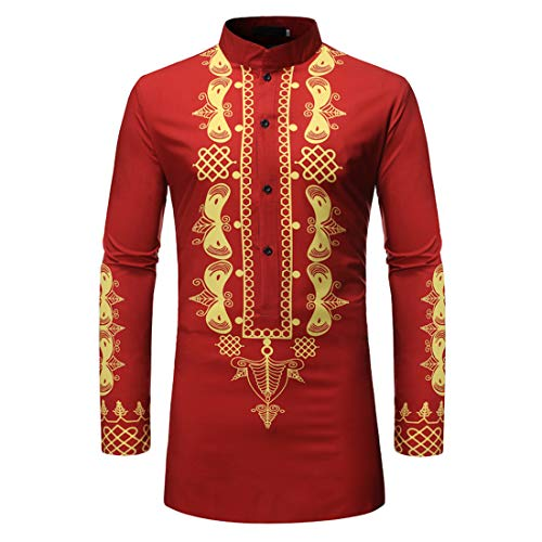 Men Shirt Long Sleeve Regular Fit Leisure Dashiki Shirt Easy Ironing Printed Gold Printed Ethnic Long Shirt in African Style L