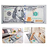 20 × 47 in 100 Dollar Bill Rug- 100 Bills Printed Money Rug Runner Money Area Carpet Floor Mat with Non-Slip Rubber Backing for Doorway Living Room Bedroom Office Gag Gift