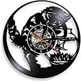 TeenieArt Reloj De Pared con Registro De Vinilo para Pesca De Gato En Pecera, Gatito Negro, Receptor De Miau, Reloj De Cocina Vintage, Decoración De Acuario, Led De 12'