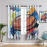 Rideau de fenêtre occultant 2 panneaux, rideaux de 183 cm de long, en forme de losange, dessin de ballon de rugby avec griffonnages colorés, facile à nettoyer, multi 183 x 183 cm