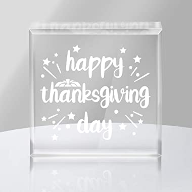WaaHome Happy Thanksgiving Day Keepsake and Paperweight Thanksgiving Gifts for Family Friends Women