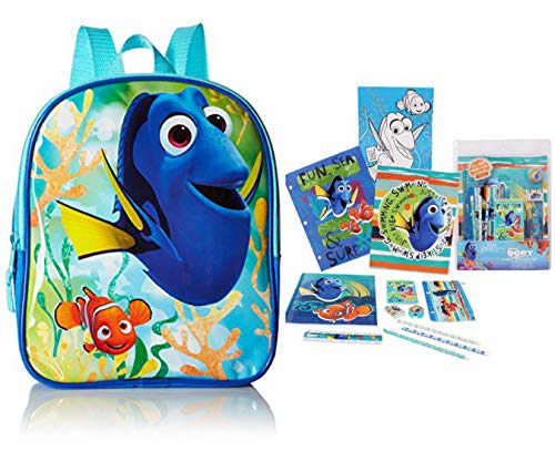 Trendy Disney Finding Dory 10 Inch Mini Backpack, Blue and 11-piece Stationery Set - 12 Pc Bundle, Expandable Backpack with Adjustable Straps - Unisex