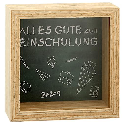 """Bada Bing Spardose Zur Einschulung Spruch """"Alles Gute Zur Einschulung"""" Geldgeschenk Aus Holz Mit Glasscheibe Ca. 14,5 x 14,5 cm Bilderrahmen Spardose Sparschwein 30"""