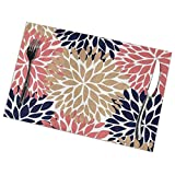 TianHeYue Dahlia Pinnata Flower Coral Beige and Navy Blue Placemats Set of 6, Heat-Resistant Washable Table Place Mats for Kitchen Dining Home, 12 X 18 Inch