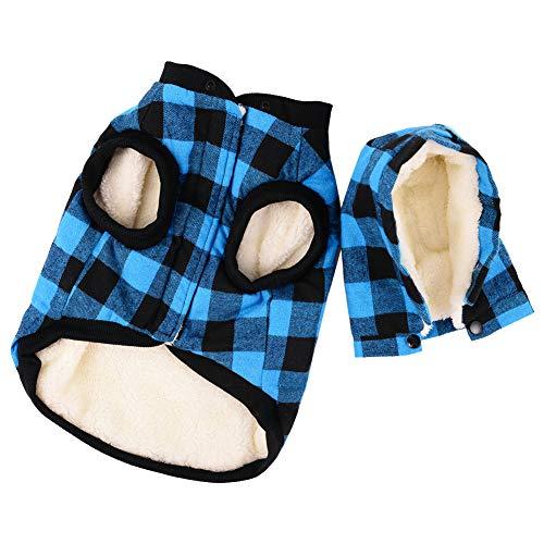 Penivo Hund warme Mäntel, große Hundebekleidung Winter Baumwolljacke für Small Medium Dogs Welpen Plaid Mantel mit Kapuze Westen (S, Blau)