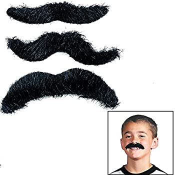 Hairy Black Mustaches  12 Pack  Novelty Moustaches Suitable for All Ages