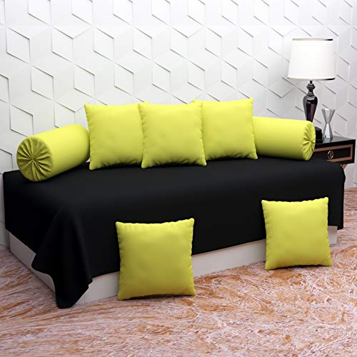 Belvostum Homes Plain Color and Printed Polycotton Diwan Set of 8 Pieces Combo with Cushions for Living Room, 1 Single Bedsheet, 5 Cushion Covers, 2 Bolster Covers (Black Neon)