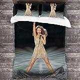 Céline Dion Concert Singing I'm Alive Ensemble de literie 3 pièces Housse de Couette Douce et Chaude, Ensemble de literie avec 2 oreillers pour Chambre à Coucher