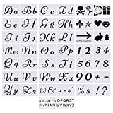 Letter Stencils for Painting on Wood - Bundle with Adhesive - Alphabet with Calligraphy Font Upper and Lowercase Letters