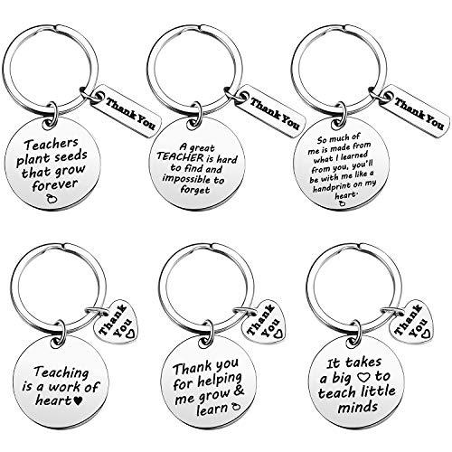 6 Stück Lehrer Wertschätzung Schlüsselanhänger Geschenke Danke Schlüsselanhänger Abschlussgeschenk