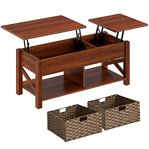 Rolanstar Lift Top Coffee Table with Storage and Rattan Baskets, Rustic Wood Raisable Top Central...