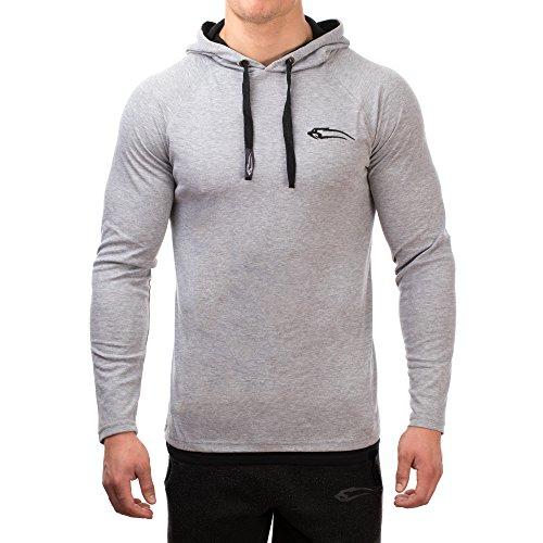 SMILODOX Slim Fit Kapuzenpullover Herren | Hoodie für Sport Fitness & Freizeit | Sportpullover - Sweatshirt Pulli - Pullover Langarm - Sportshirt mit Aufdruck, Farbe:Grau, Größe:S