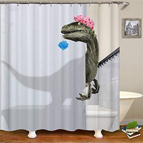 ufengke Duschvorhang 3D Badedinosaurier mit 12 Haken Weiße Duschvorhang aus Stoff Polyester Wasserdicht Anti Schimmel für Badezimmer 180x180cm