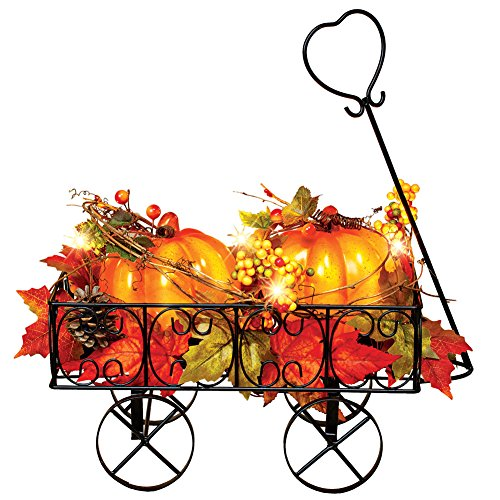 Collections Etc Lighted Metal Pumpkin Wagon with Leaves and Berries, Fall Outdoor and Indoor Décor, Yard, Garden, Porch for Thanksgiving