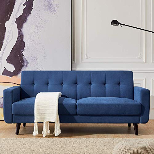 Mid Century Modern Fabric Sofa Couch -3 Seater Polyester Fabric Couch Button Tufted Overstuffed Seat & Back Cushions for Living Room Office Club,-79inch Wider (Blue)