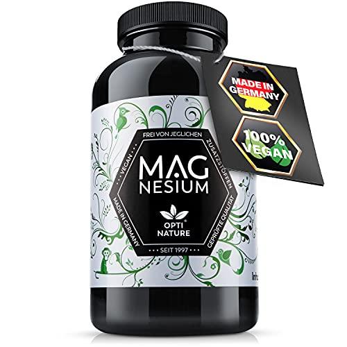 365 hochdosierte & hoch bioverfügbare Magnesium Kapseln | Vegan, Made in Germany & zertifiziert | Seit 1997 - OPTI NATURE