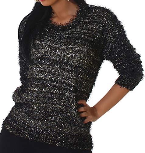 Jela London Damen Kuschel-Pullover Glitzer Sweater Fransen Stretch Feinstrick Häkel kuschelig weich warm Hüftschlitz, Schwarz Silber Gold