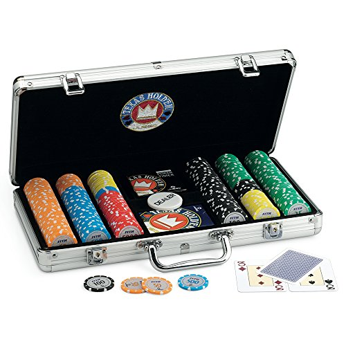Juego Pro Team 300 - Maletn de Poker I Poker Set I Poker Incluye Cartas de Poker Texas Hold'em, 300 fichas, Dealer y Timer - Aluminio