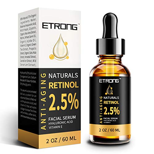 Retinol Serum, ETRONG hochfestes Anti-Aging Serum mit 2,5% Retinol, Hyaluronsäure und Vitamin E für Gesichts-Akne (60ml)