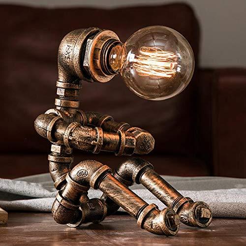 Hierro industrial vintage Pipa de agua Robot Lámpara de mesa, LCYFBE Steampunk Desktop Light(Bombilla no incluida)
