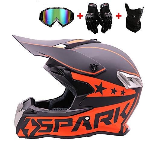 WRISCG Cross Helm Erwachsene Motocross Helm Off Road Motorradhelm mit Schutzbrille Handschuhe Maske Helm Sturzhelm Integralhelm BMX DH ATV Offroad-Downhill-Dirt-Bike-MX-Go-Kart-MTB-Rennhelm,L