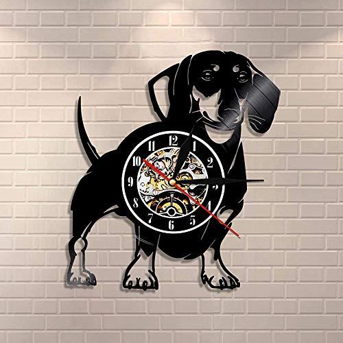 yltian Reloj de Pared de Perro Salchicha de Pelo de Alambre, Reloj de Pared con Registro de Vinilo para Perro, Tienda de Mascotas, decoración de Pared para Cachorros, Reloj Vintage, Regalo de Raza