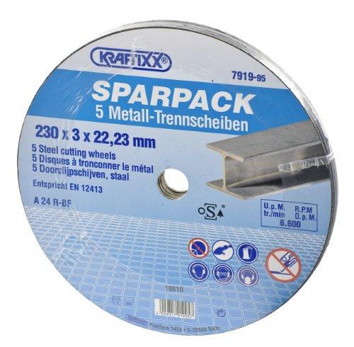 Kraftixx doorslijpschijven 791995 (voor metaal, voordeelverpakking met 5 stuks, diameter 230 mm)