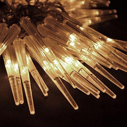 Nipach GmbH 60er LED Eiszapfenkettekette Lichterkette Leuchtfarbe warm-weiß für Innen Aussen Trafo Timer transparentes Kabel Weihnachtsdeko Länge 6,7 m