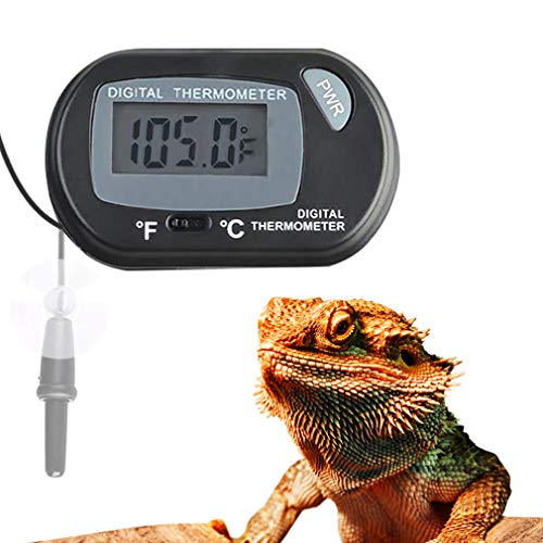 Meric LCD Digital Thermometer for Bearded Dragon, Accurately Reads Enclosure Temperature in Celsius & Fahrenheit, Easy to Install, 2 Suction Cups and Battery Included