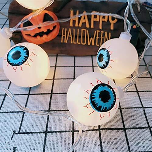 Halloween Ghost Eye String Lights, 80 LEDs 10M 3D Lantern Fairy Light Outdoor 8 Flicker Modes Battery Powered Waterproof Cute Spooky Halloween Xmas Party
