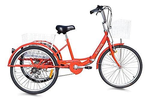 Jorvik 26 Voyage DE Voyage en Tricycle Pliant en Aluminium (Red)