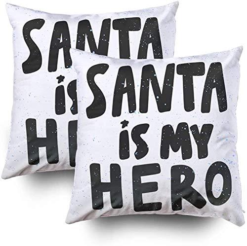 Santa My Hero Sticker Social Media Content Ontwerp Bubble Pop Art Comic Stijl Poster Kussenhoezen 45x45, Vierkante Kussenhoezen Pack van 2,Gooi Kussensloop Cover Decoratief, Met Ritssluiting, voor Slaapbank