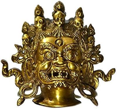 Collectible India Metal Tibetan Mahakala Wall Sculpture (7.5 Inches, Gold)