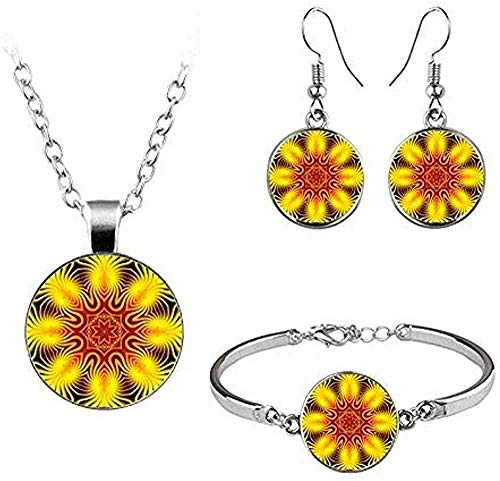 Ahuyongqing Co.,ltd Necklace Mandala Flower s Turkey Pendant Necklace Bracelet Hook Earrings s Glass Cabochon Religious Buddhist Necklace Length 50 cm Necklace