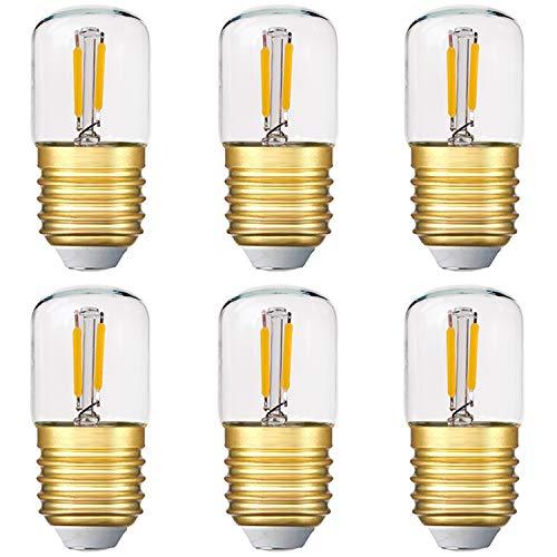 Genixgreen Mini Röhren-LED-Lampe, 1 W T28 Edison LED-Glühlampe E27 Schraubfuß 2700K Super warmweiße Glühbirne für dekorative nicht dimmbare (Klarglas) 6er-Pack