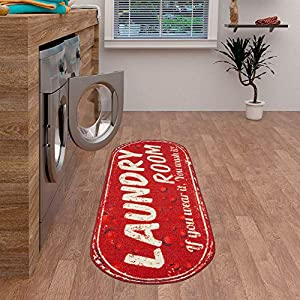 Ottomanson Laundry Collection Area Rug, 20″X59″ Oval, Red Bubbles