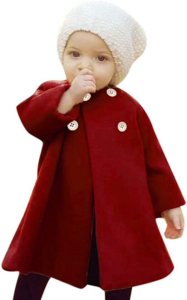 VEKDONE Autumn Winter Girls Kids Jacke Button Cloak Baby Outwear Charlotte Classic Mall