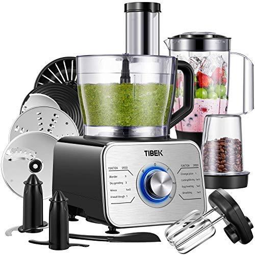 Robot Cuisine Multifonctions, TIBEK Robot de cuisine 1100W Robot Multifonction 3 Vitesses avec Impulsion, 3.2 L Bol ( Inclus: Crochet Pétrisseur, Mixeur, Presse-agrumes et Moulin à Café) Argent