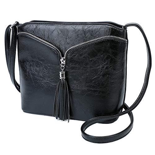 LeahWard Small Size Cross Body Bags For Women Designer Shoulder Bag Across Body Handbags For Holiday 9739 (Black Tassel)