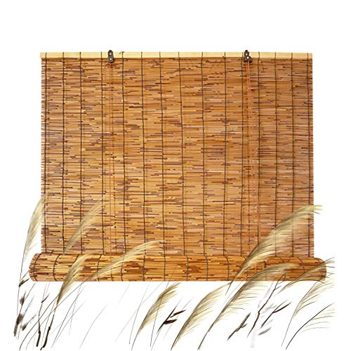"""Outdoor Reed Roller Shades,Bamboo Roll Up Window Blind for Porch Garden Kitchen Patio,Light Filtering Water Proof Sun Shade,Hand-Woven Blackout Curtains 24"""" W x 36"""" H 30"""" W x 72"""" H"""