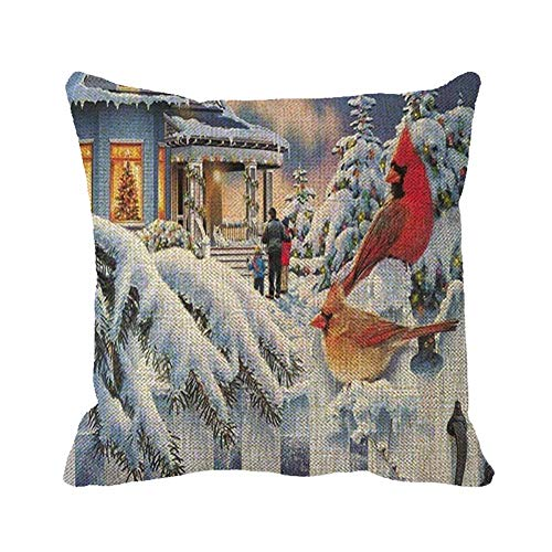 Egoa Pillow Cover Christmas Winter Snow Red Birds Double-Sided Printing Cushion Case Soft Couch Cushions Zipped Special Pillow Cover 45X45Cm Throw Pillowcase
