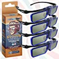 RetroDepth LT Lightweight Rechargeable DLP Link 3D Glasses for all DLP 3D Projectors (Benq, Optoma, Acer, Vivitek, Dell Etc) by Evolv3Dimensions (4 Pack)